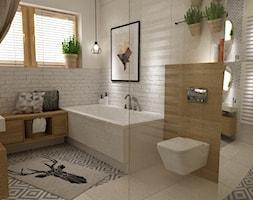 łazienki w stylu skandynawskim - Duża biała łazienka w domu jednorodzinnym z oknem, styl skandynawski - zdjęcie od Grafika i Projekt architektura wnętrz