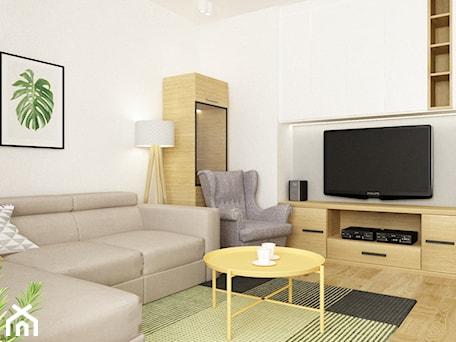 Aranżacje wnętrz - Salon: apartament bemowo ok.100m2 - Mały biały salon, styl nowoczesny - Grafika i Projekt architektura wnętrz. Przeglądaj, dodawaj i zapisuj najlepsze zdjęcia, pomysły i inspiracje designerskie. W bazie mamy już prawie milion fotografii!