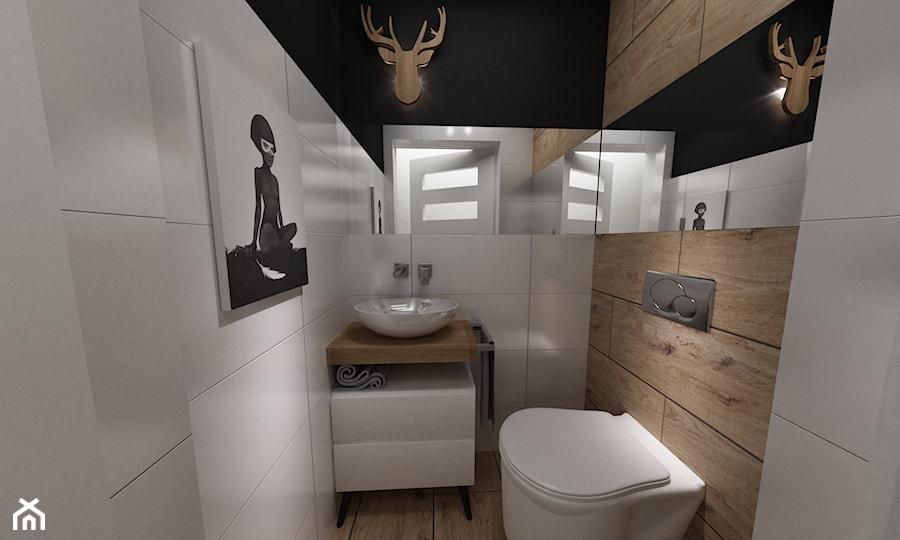 Dom pod Warszawą 160 m2 - Mała beżowa brązowa łazienka w bloku bez okna, styl skandynawski - zdjęcie od Grafika i Projekt architektura wnętrz