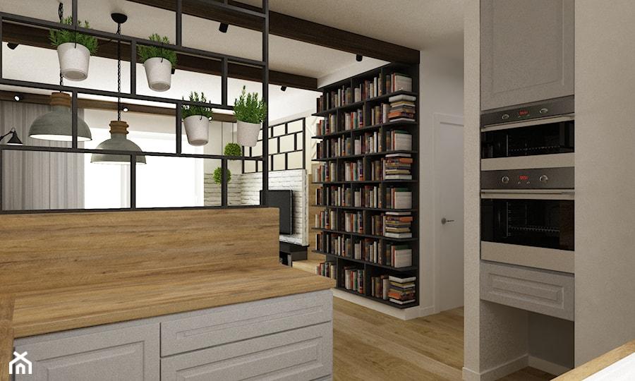 dom Warszawa wawer 170m2 - Mała otwarta biała kuchnia dwurzędowa w aneksie, styl skandynawski - zdjęcie od Grafika i Projekt architektura wnętrz