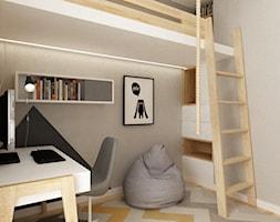pokój dziecięcy - Mały szary pokój dziecka dla chłopca dla dziewczynki dla ucznia dla nastolatka, styl skandynawski - zdjęcie od Grafika i Projekt architektura wnętrz