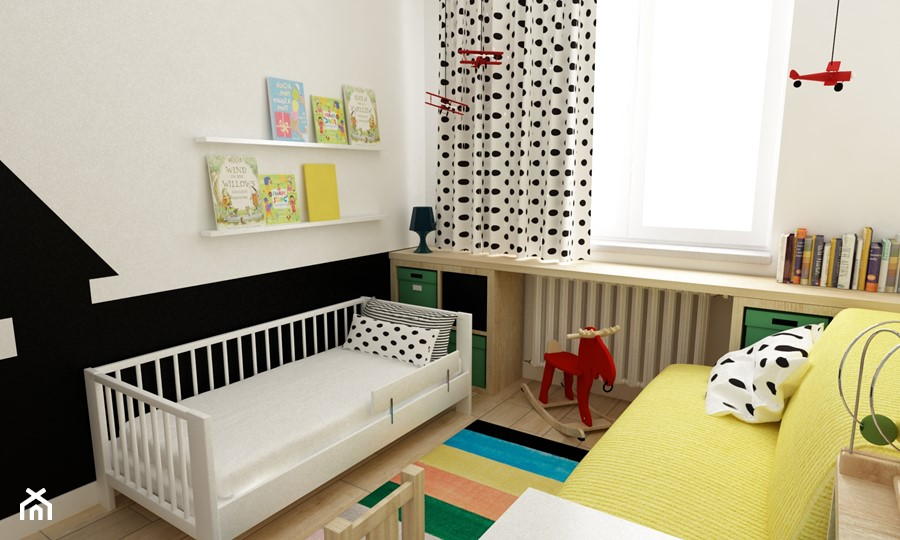 pokój dziecięcy - Średni biały czarny pokój dziecka dla dziewczynki dla malucha, styl skandynawski - zdjęcie od Grafika i Projekt architektura wnętrz