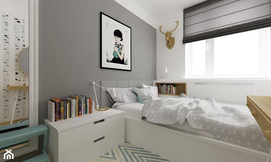 mieszkanie na wawrze 54m2 - Średnia biała szara sypialnia małżeńska, styl skandynawski - zdjęcie od Grafika i Projekt architektura wnętrz