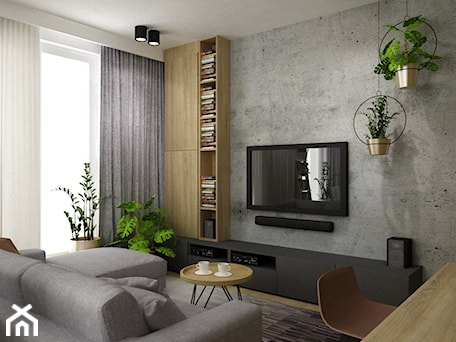 Aranżacje wnętrz - Salon: mieszkanie 90m2 z rowerem - Mały szary biały salon z bibiloteczką z jadalnią, styl nowoczesny - Grafika i Projekt architektura wnętrz. Przeglądaj, dodawaj i zapisuj najlepsze zdjęcia, pomysły i inspiracje designerskie. W bazie mamy już prawie milion fotografii!