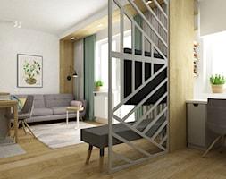 Pastelowe 48m2 - Średni biały zielony salon z jadalnią, styl skandynawski - zdjęcie od Grafika i Projekt architektura wnętrz