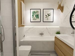 mieszkanie 70m2 w stylu urban jungle - Mała łazienka w bloku w domu jednorodzinnym bez okna, styl skandynawski - zdjęcie od Grafika i Projekt architektura wnętrz