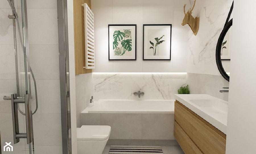 Aranżacje wnętrz - Łazienka: mieszkanie 70m2 w stylu urban jungle - Mała łazienka w bloku w domu jednorodzinnym bez okna, styl skandynawski - Grafika i Projekt architektura wnętrz. Przeglądaj, dodawaj i zapisuj najlepsze zdjęcia, pomysły i inspiracje designerskie. W bazie mamy już prawie milion fotografii!
