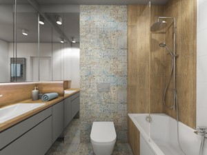 łazienki w stylu skandynawskim - Mała kolorowa łazienka bez okna, styl nowoczesny - zdjęcie od Grafika i Projekt architektura wnętrz