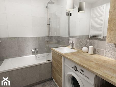 Aranżacje wnętrz - Łazienka: łazienki w stylu skandynawskim - Mała biała szara łazienka w bloku bez okna, styl nowoczesny - Grafika i Projekt architektura wnętrz. Przeglądaj, dodawaj i zapisuj najlepsze zdjęcia, pomysły i inspiracje designerskie. W bazie mamy już prawie milion fotografii!