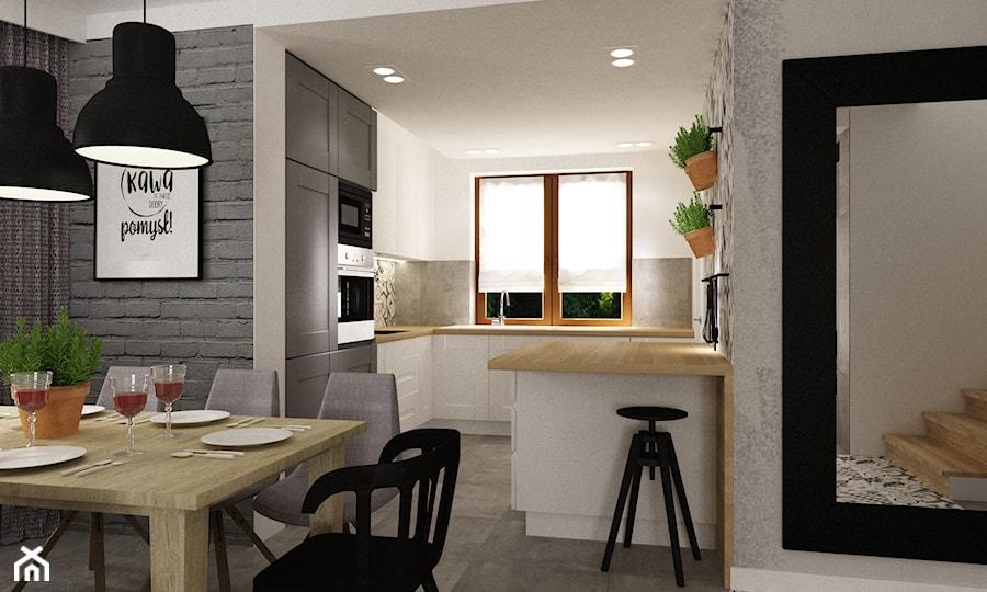 metamorfoza salonu i kuchni dom pod warszawą - Kuchnia, styl skandynawski - zdjęcie od Grafika i Projekt architektura wnętrz