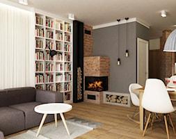Dom Brwinów 200 m2 - Średni szary salon z jadalnią, styl nowoczesny - zdjęcie od Grafika i Projekt architektura wnętrz