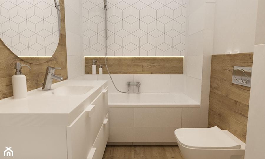kawalerka 35m2 - Mała beżowa łazienka w bloku w domu jednorodzinnym bez okna, styl skandynawski - zdjęcie od Grafika i Projekt architektura wnętrz