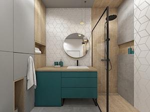 mieszkanie 40m2 lekko industrialne - Średnia biała brązowa szara łazienka bez okna, styl industrialny - zdjęcie od Grafika i Projekt architektura wnętrz