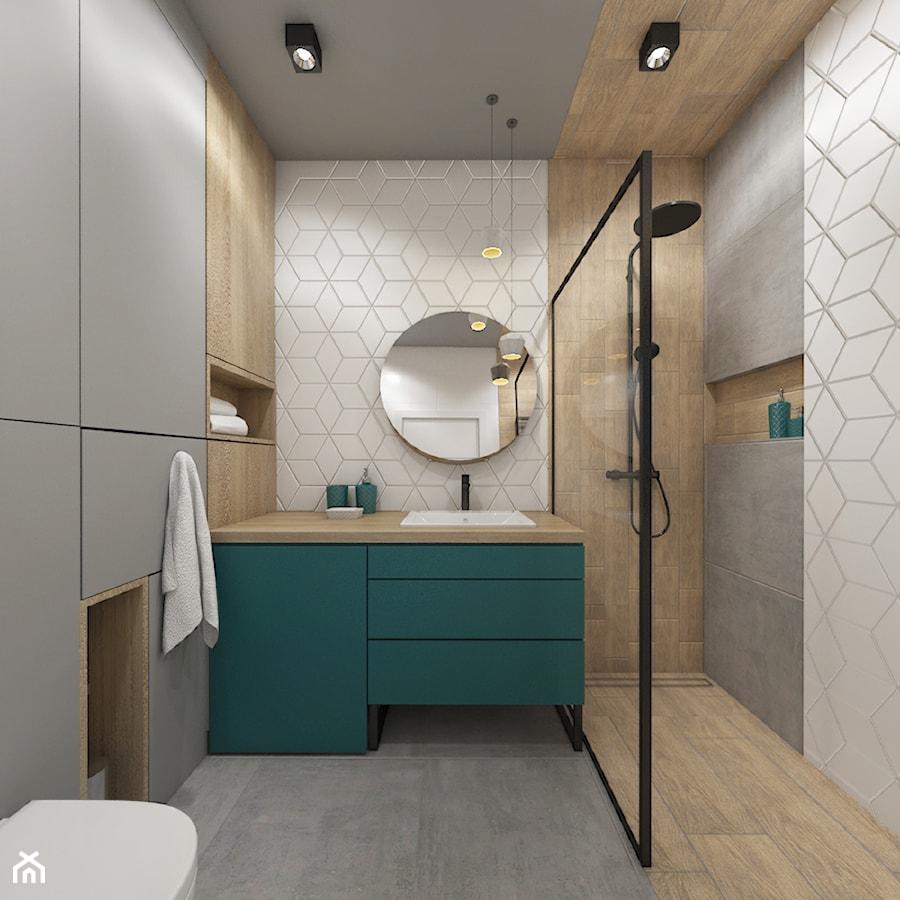 Aranżacje wnętrz - Łazienka: mieszkanie 40m2 lekko industrialne - Średnia biała brązowa szara łazienka bez okna, styl industrialny - Grafika i Projekt architektura wnętrz. Przeglądaj, dodawaj i zapisuj najlepsze zdjęcia, pomysły i inspiracje designerskie. W bazie mamy już prawie milion fotografii!