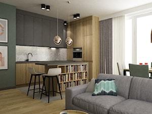 mieszkanie 90m2 z rowerem - Średnia otwarta szara zielona kuchnia w kształcie litery l w aneksie z wyspą z oknem, styl nowoczesny - zdjęcie od Grafika i Projekt architektura wnętrz