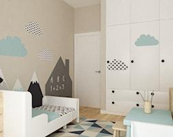 apartament bemowo ok.100m2 - Średni brązowy pokój dziecka dla chłopca dla ucznia dla nastolatka, styl skandynawski - zdjęcie od Grafika i Projekt architektura wnętrz