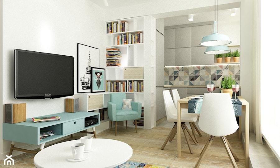 41 m2 pastelowe - Mała otwarta jadalnia w salonie, styl skandynawski - zdjęcie od Grafika i Projekt architektura wnętrz