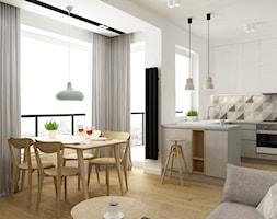 mieszkanie minimalistyczne 2 pokojowe - Średnia otwarta biała kuchnia w kształcie litery u w aneksie z oknem, styl minimalistyczny - zdjęcie od Grafika i Projekt architektura wnętrz