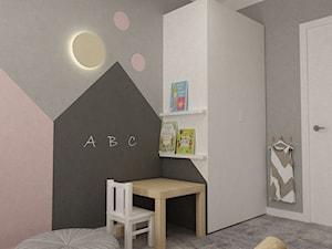 Mieszkanie 70m2 Ursynów - Mały szary beżowy czarny pokój dziecka dla chłopca dla dziewczynki dla malucha, styl nowoczesny - zdjęcie od Grafika i Projekt architektura wnętrz