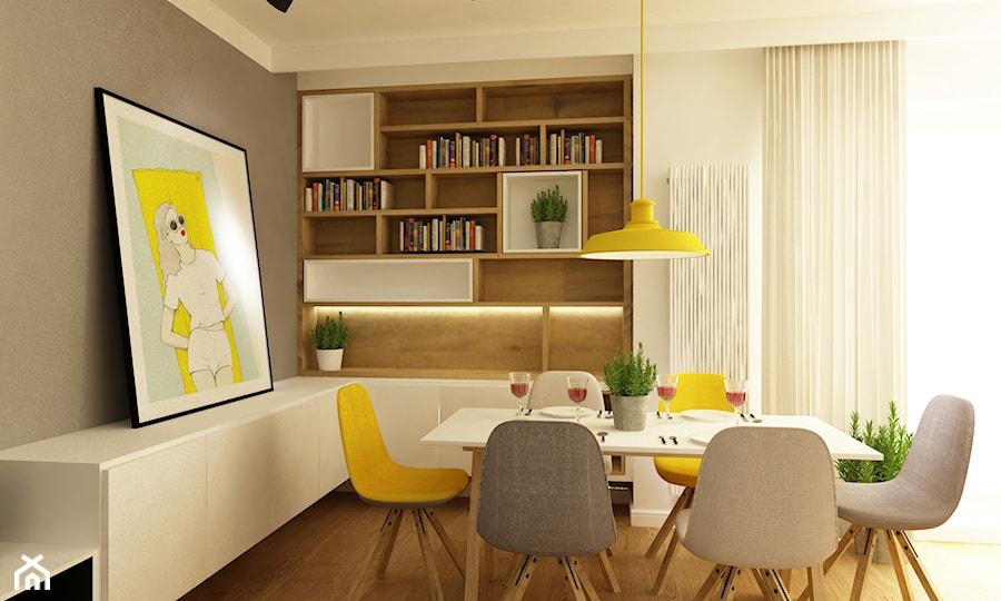 projekty pojedynczych pomieszczeń - Średnia zamknięta beżowa szara jadalnia jako osobne pomieszczenie, styl skandynawski - zdjęcie od Grafika i Projekt architektura wnętrz