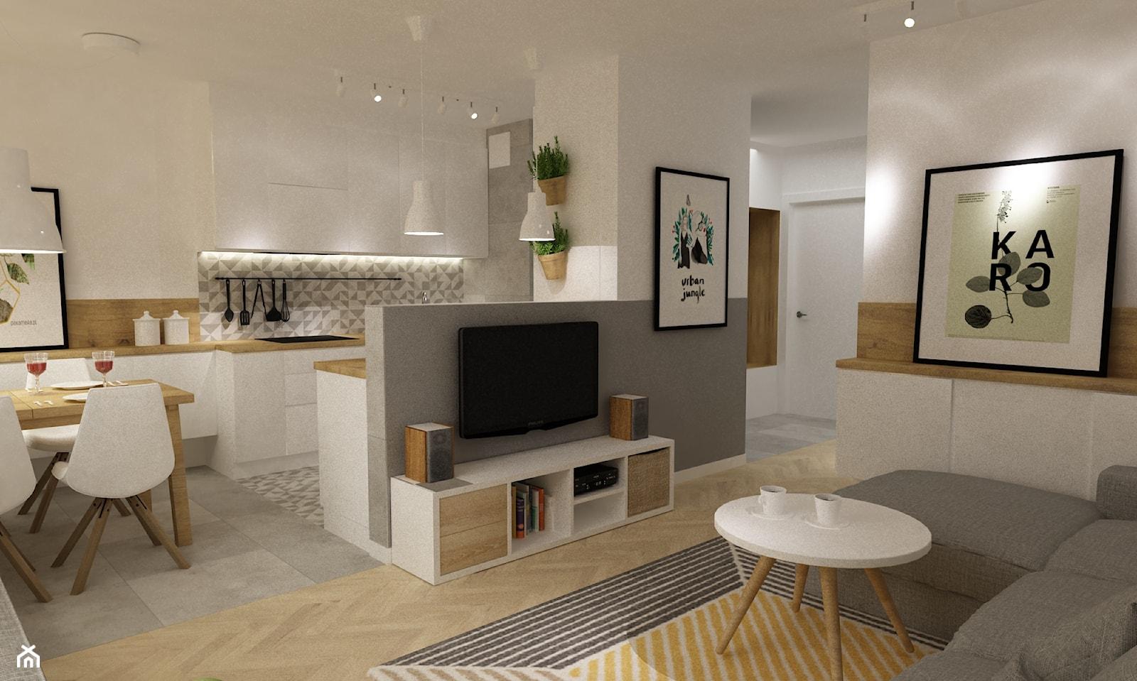 kabaty metamorfoza 60m2 - Średnia otwarta biała szara kuchnia w kształcie litery u w aneksie, styl skandynawski - zdjęcie od Grafika i Projekt architektura wnętrz - Homebook