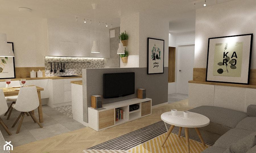 kabaty metamorfoza 60m2 - Średnia otwarta biała szara kuchnia w kształcie litery u w aneksie, styl skandynawski - zdjęcie od Grafika i Projekt architektura wnętrz