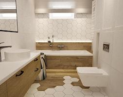 mieszkanie 105m2 z heksagonami - Mała szara łazienka w bloku w domu jednorodzinnym z oknem, styl skandynawski - zdjęcie od Grafika i Projekt architektura wnętrz
