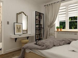 metamorfoza mieszkania 50 m2 w kamienicy - Mała biała sypialnia małżeńska, styl skandynawski - zdjęcie od Grafika i Projekt architektura wnętrz