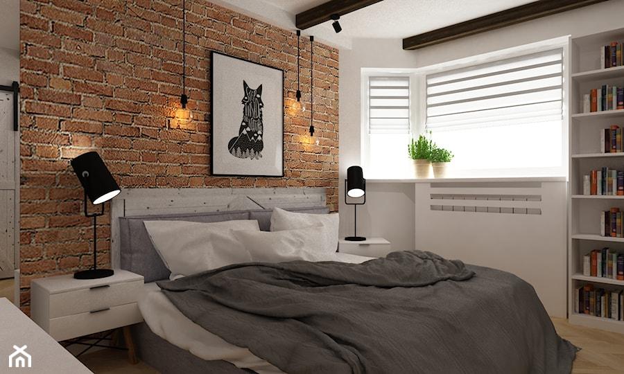 projekty pojedynczych pomieszczeń - Średnia biała pomarańczowa czerwona sypialnia dla gości małżeńska, styl skandynawski - zdjęcie od Grafika i Projekt architektura wnętrz