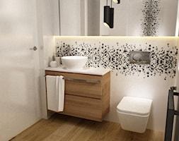dom warszawa 120m2 - Mała biała łazienka w bloku w domu jednorodzinnym z oknem, styl nowoczesny - zdjęcie od Grafika i Projekt architektura wnętrz