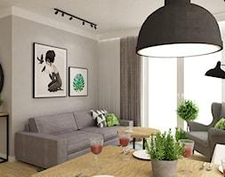 mieszkanie 75m2 słuzew - Mały szary salon z jadalnią - zdjęcie od Grafika i Projekt architektura wnętrz - Homebook
