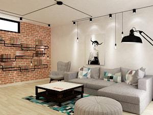 Apartament w Warszawie 90 m2 starzona cegła styl industrialny loft - Średni biały czerwony salon, styl skandynawski - zdjęcie od Grafika i Projekt architektura wnętrz