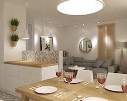 kabaty metamorfoza 60m2 - Średnia otwarta biała kuchnia w kształcie litery u, styl skandynawski - zdjęcie od Grafika i Projekt architektura wnętrz