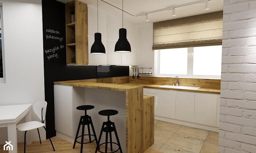 kuchnia w bieli,drewnie z dodatkami czarnego - metamorfoza - Mała otwarta biała czarna kuchnia w ksz ... - zdjęcie od Grafika i Projekt architektura wnętrz
