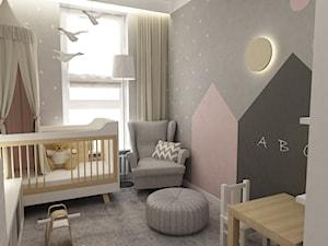 Mieszkanie 70m2 Ursynów - Mały szary pokój dziecka dla chłopca dla niemowlaka, styl skandynawski - zdjęcie od Grafika i Projekt architektura wnętrz