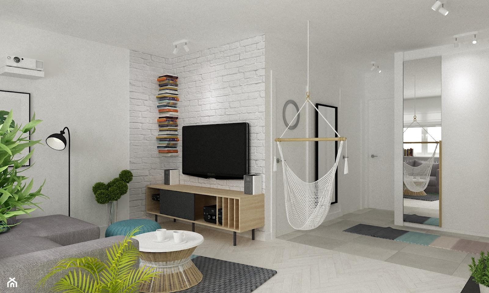 mieszkanie z akcentem turkusu metamorfoza - Średni biały salon, styl skandynawski - zdjęcie od Grafika i Projekt architektura wnętrz - Homebook