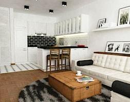 mieszkanie na ochocie Warszawa - Mała otwarta biała kuchnia w kształcie litery u w aneksie, styl klasyczny - zdjęcie od Grafika i Projekt architektura wnętrz