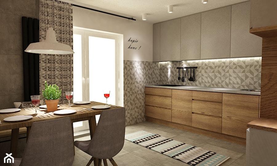 metamorfoza kuchni 15m2 - Duża otwarta biała szara kolorowa kuchnia w kształcie litery l, styl nowoczesny - zdjęcie od Grafika i Projekt architektura wnętrz