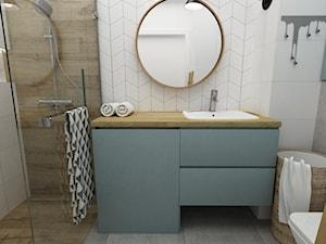 kawalerka do wynajęcia 35m2 - Mała łazienka w bloku w domu jednorodzinnym bez okna, styl skandynawski - zdjęcie od Grafika i Projekt architektura wnętrz