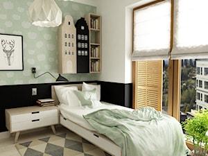 sypialnie nowoczesne - Średni pastelowy miętowy czarny pokój dziecka dla dziewczynki dla nastolatka, styl nowoczesny - zdjęcie od Grafika i Projekt architektura wnętrz