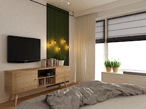 mieszkanie jasne w stylu nowoczesnym/skandynawskim 60m2 - Średnia biała zielona sypialnia małżeńska, styl skandynawski - zdjęcie od Grafika i Projekt architektura wnętrz
