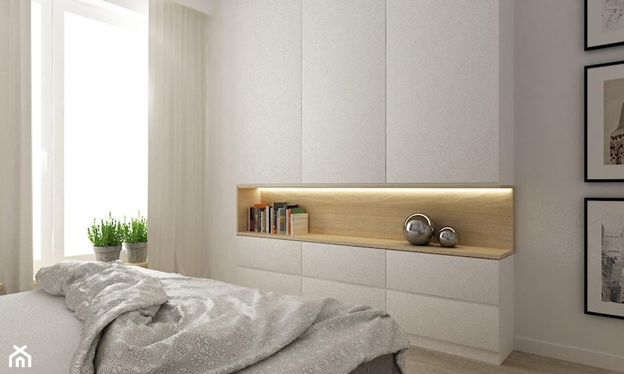 Mieszkanie 70m2 Ursynów - Średnia biała sypialnia małżeńska, styl nowoczesny - zdjęcie od Grafika i Projekt architektura wnętrz