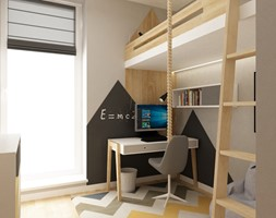 pokój dziecięcy - Mały biały szary czarny pokój dziecka dla chłopca dla dziewczynki dla ucznia dla nastolatka, styl skandynawski - zdjęcie od Grafika i Projekt architektura wnętrz