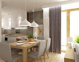 dom Białołęka 200m2 - Mała otwarta biała szara jadalnia w salonie, styl nowoczesny - zdjęcie od Grafika i Projekt architektura wnętrz