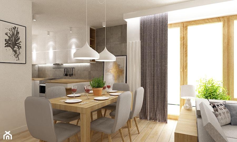 Aranżacje wnętrz - Jadalnia: dom Białołęka 200m2 - Mała otwarta biała szara jadalnia w salonie, styl nowoczesny - Grafika i Projekt architektura wnętrz. Przeglądaj, dodawaj i zapisuj najlepsze zdjęcia, pomysły i inspiracje designerskie. W bazie mamy już prawie milion fotografii!