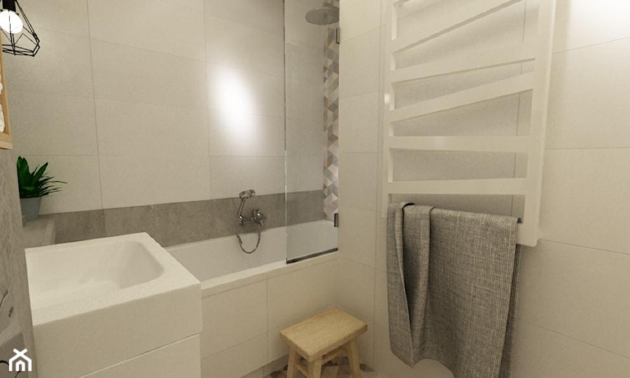 łazienki w stylu skandynawskim - Mała biała łazienka w bloku bez okna, styl skandynawski - zdjęcie od Grafika i Projekt architektura wnętrz