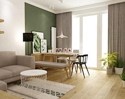 mieszkanie 70m2 w stylu urban jungle - Mała otwarta zielona jadalnia w kuchni, styl skandynawski - zdjęcie od Grafika i Projekt architektura wnętrz