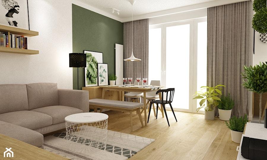 Aranżacje wnętrz - Jadalnia: mieszkanie 70m2 w stylu urban jungle - Mała otwarta zielona jadalnia w kuchni, styl skandynawski - Grafika i Projekt architektura wnętrz. Przeglądaj, dodawaj i zapisuj najlepsze zdjęcia, pomysły i inspiracje designerskie. W bazie mamy już prawie milion fotografii!