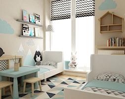 apartament bemowo ok.100m2 - Mały brązowy pokój dziecka dla chłopca dla dziewczynki dla rodzeństwa dla malucha, styl skandynawski - zdjęcie od Grafika i Projekt architektura wnętrz