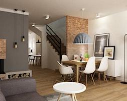 Dom Brwinów 200 m2 - Mała otwarta beżowa brązowa szara jadalnia w salonie, styl nowoczesny - zdjęcie od Grafika i Projekt architektura wnętrz